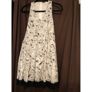 Black and white floral dress, lace bottom lining